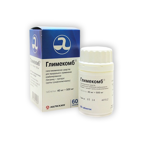 Таблетки Глимекомб 40+500 мг